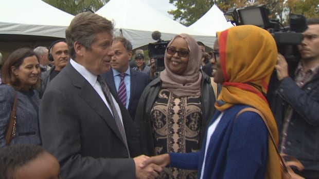 Mayor John Tory met with residents of Lawrence Heights after kicking off the first phase of the revitalization of the neighbourhood which was built in the 1950s.