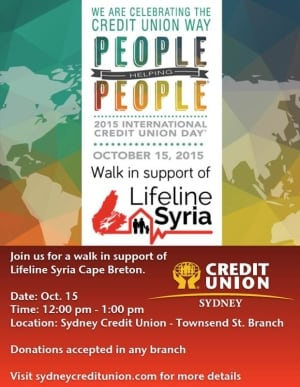 li- poster for walk to support lifeline Syria Cape Breton