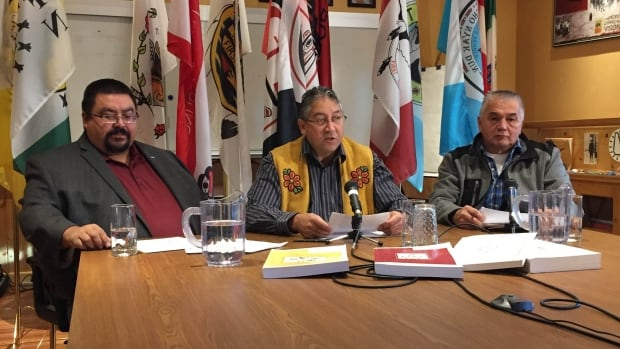 From left: Steve Smith, chief of Champagne and Aishihik First Nations; Eric Fairclough, chief of Little Salmon/Carmacks First Nation, and Carl Sidney, chief of Teslin Tlngit Council. The three First Nations filed suit against the federal government on Wednesday over amendments to YESAA.