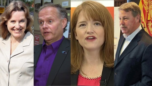 The four candidates running in the federal riding of Saint John Rothesay. Sharon Murphy of the Greens, Liberal Wayne Long, NDP AJ Griffin and Conservative Rodney Weston.