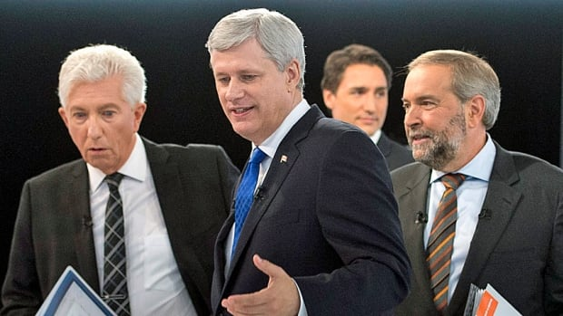 Bloc Quebecois Leader Gilles Duceppe, left, Conservative Leader Stephen Harper, Liberal Leader Justin Trudeau and NDP Leader Tom Mulcair, right, leave the set after a debate on Sept. 24  in Montreal.