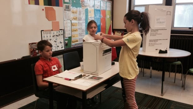 Students at Le Marchant St. Thomas elementary school in Halifax took part Thursday in a mock vote for federal candidates in the upcoming federal election.