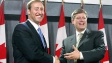 Elxn42 Peter MacKay PC leader Canadian Alliance leader Stephen Harper 2003