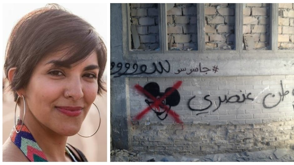 "Heba Amin (left) was one of the graffiti artists hired by the TV hit series Homeland. They wanted her and other artists to paint Arabic tags to make the set more authentic. Amin used the opportunity to paint ""Homeland is Racist"" in Arabic (right)"