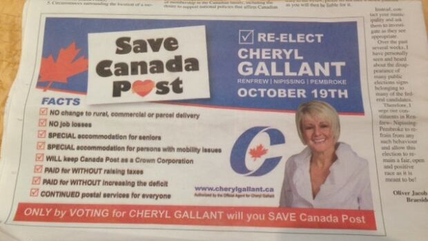 Conservative candidate Cheryl Gallant is calling on voters to re-elect her as the 'only' way to save Canada Post.
