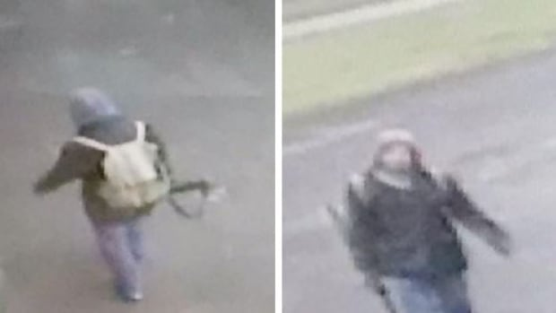 Fredericton police released these photos of a 'person of interest' they wanted to speak to about a call that led to the lockdown of four schools Friday. Later, police found the man and determined he was carrying an umbrella.