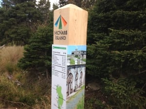McNabs Island's new hemlock sign posts will take visitors on a self-guided tour of the island.