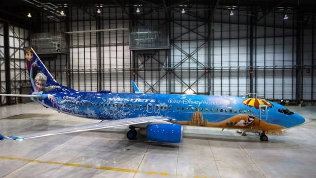 The Frozen-themed plane is Westjet's second Disney-themed custom paint job and features Anna, Elsa and Olaf from the Disney film Frozen.