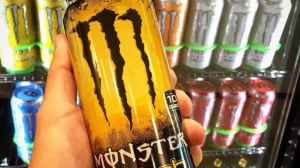 Monster energy drink is branded with typically masculine packaging.