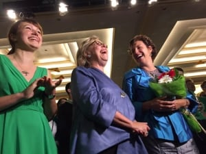 Green Party leader Elizabeth May, Frances Litman and daughter