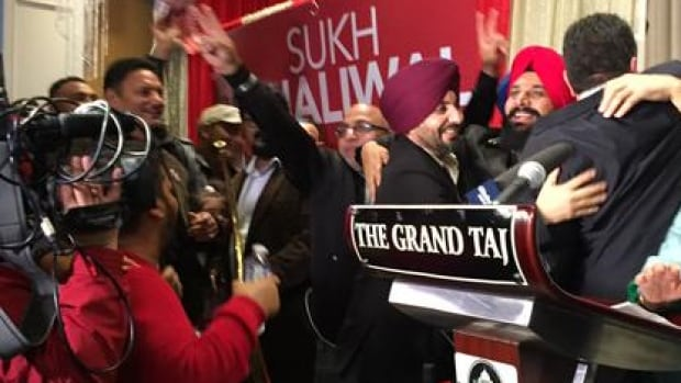 Liberals celebrated victory in Surrey-Newton on Monday night.