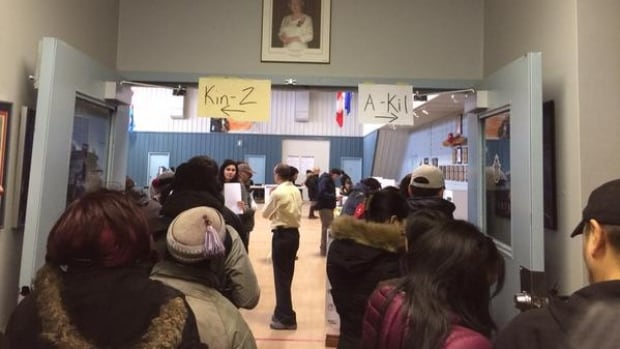 Voters lined up in Iqaluit Monday morning. All three territories saw an increase in voter turnout this federal election compared to the last one.