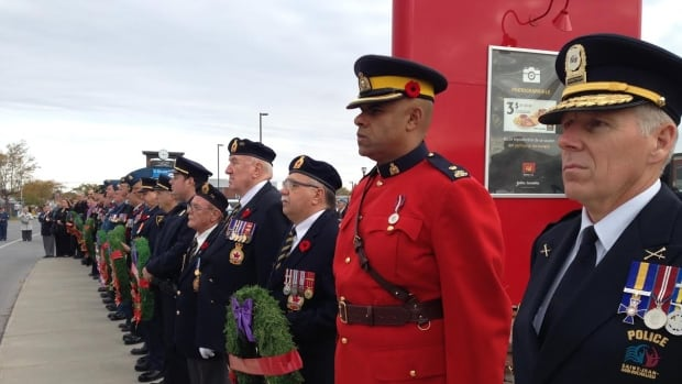 Uniformed servicemen and veterans were on hand to commemorate the first anniversary of the passing of Warrant Officer Patrice Vincent in St.-Jean-sur-Richelieu Tuesday.