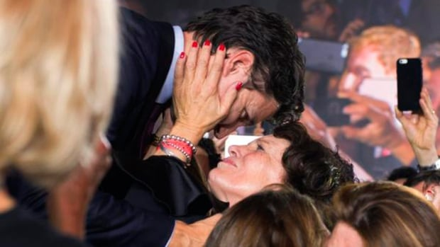 Justin Trudeau embraces his mother, Margaret, on election night in Montreal.