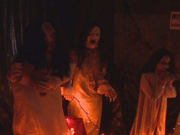 jim myers has bought hundreds of witches like these to decorate his property for halloween