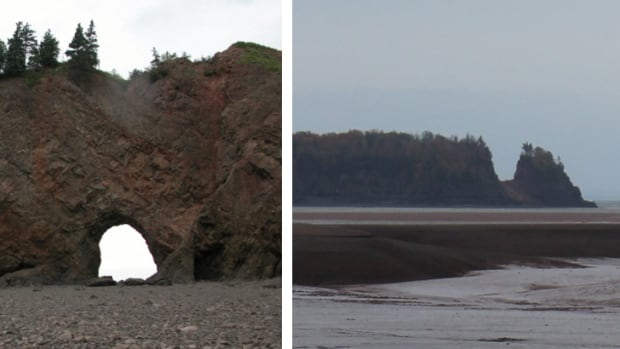 The photo on the left shows the Long Island sea arch before it collapsed overnight Monday. The one on the right shows Long Island minus its sea arch.