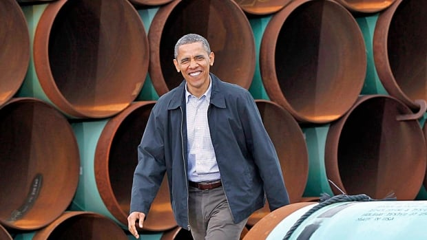 In this March 22, 2012, file photo, President Barack Obama arrives at the TransCanada Stillwater Pipe Yard in Cushing, Okla.