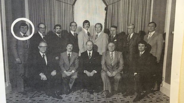 Pierre Trudeau with the 1979 Liberal candidates from Saskatchewan. Ralph Goodale is circled.