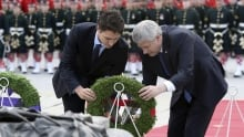 PM Stephen Harper Justin Trudeau lay wreath Parliament Hill Oct 22 2015