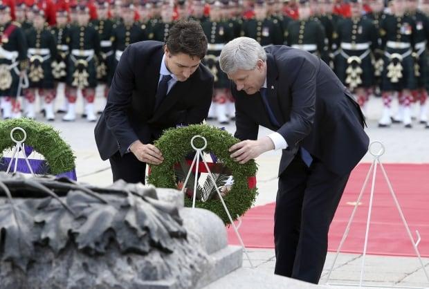 PM Stephen Harper Justin Trudeau lay wreath Parliament Hill Oct 22 2015