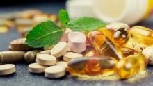 Natural health vitamins and supplements stock image
