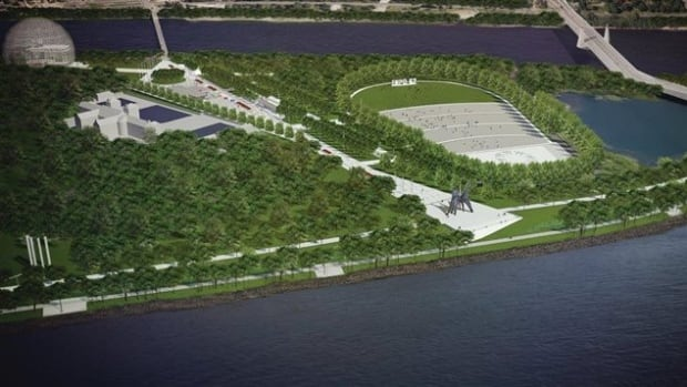 An artist's rendering of the proposed new amphitheatre and promenade on Parc Jean-Drapeau.