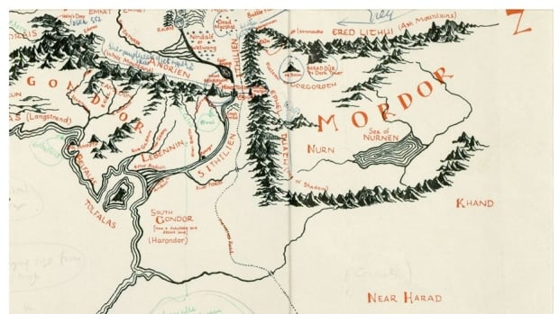 Map of Middle Earth annotated by J R R Tolkien uncovered in old