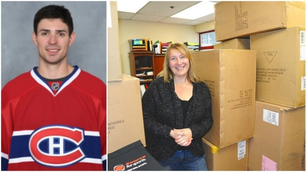 Carey Price, left, of the Montreal Canadiens, donated $10,000 worth of CCM goalie equipment to the Williams Lake Minor Hockey Association. League office administrator Pam Povelofskie, right, stands next to the gift.