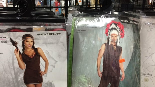Jeffrey McNeil-Seymour found 'Native Beauty' and 'Chief Long Arrow' costumes for sale at Halloween Alley in Kamloops, B.C. He complained to the store and posted photos to Facebook.