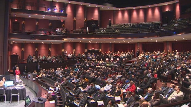 Brampton residents packed the Rose Theatre for last night's vote on a plan to run a light rail line through the city's heritage district. After six-hour meeting, the plan was voted down.