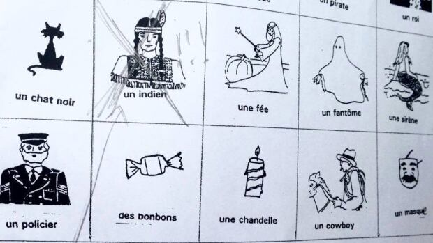 """A Halloween-themed vocabulary sheet at École Notre-Dame-De-Grâce featured an """"Indian"""" in a native headdress."""