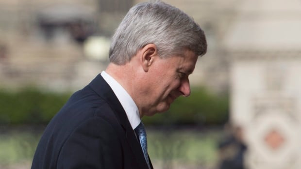 Outgoing prime minister Stephen Harper arrives at his Langevin office in Ottawa after the election. Harper will address the Conservative caucus this week to talk about his party's defeat, CBC News has learned.