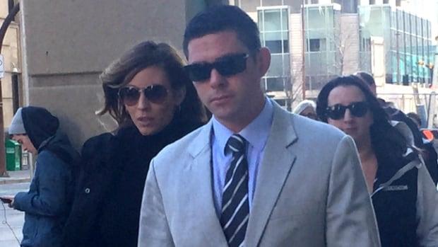 Nicholas Rasberry walks into the Calgary Courts Centre just before Justice Robert Hall found him guilty of manslaughter