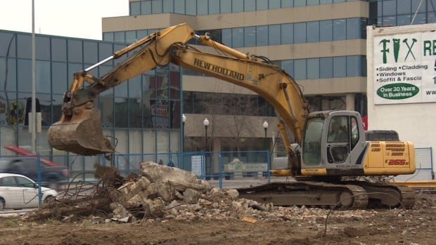 Work is underway at the hotel-condo project at the corner of Albert Street and Victoria Avenue.