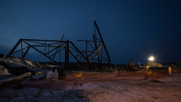 A partially-deconstructed base is all that remains of Giant Mine's C-Shaft headframe on October 27, 2015. The Giant Mine Oversight Board is responsible for overseeing remediation on the mine site, but is raising the alarm that nobody has taken responsibility for the city of Yellowknife, which sits near the mine.