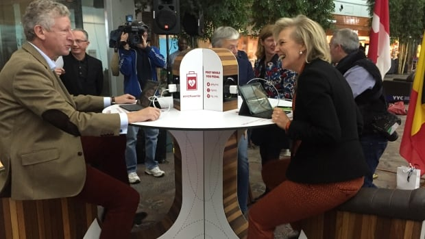 Princess Astrid of Belgium demonstrates using muscle power to charge a tablet riding a power generating bike at the Calgary International Airport.