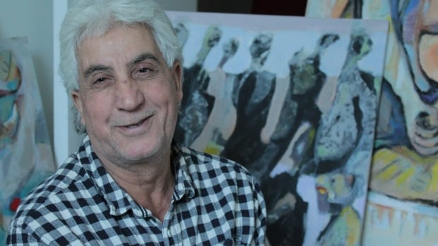 Syrian Kurdish painter Hasan Abdalla fled from Damascus in 2011 and now lives in London as a refugee with his wife and a son.