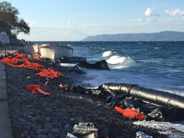 The Lesbos coast strewn with life jackets