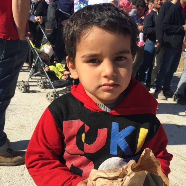 Little boy at Moria refugee camp