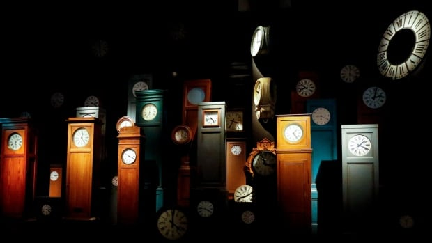 Old train station clocks are on display at the Train World museum in Brussels, Belgium, Sept. 21. Clocks in Canada move back to standard time at 2 a.m. Sunday. The EU made the change a week earlier.