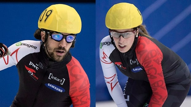 Charles Hamelin, left, and Marianne St-Gelais, who are engaged, each won their respective 1,000-metre gold in a World Cup event in Dresden, Germany, Saturday.