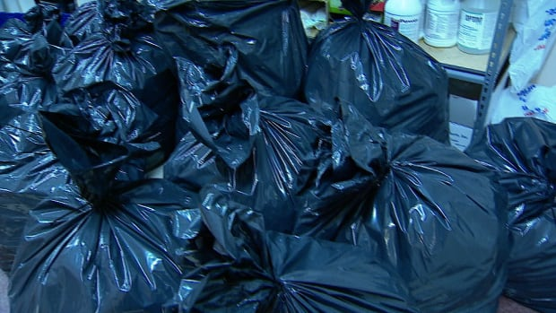 Garbage bags filled with Halloween candy