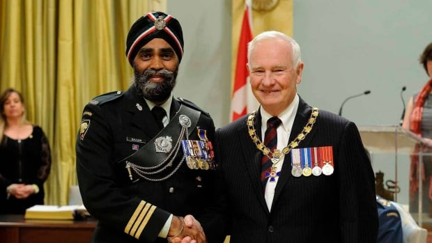 Canada's new defence minister is Harjit Sajjan, who has numerous military honours, including the Order of Military Merit, given to him by Governor General David Johnston in June 2014.