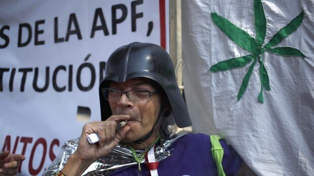 A supporter of the legalization of marijuana smokes outside the Supreme Court in Mexico City on Nov. 4. Mexico's court ruled Wednesday that growing, possessing and smoking marijuana for recreation are legal under a person's right to personal freedoms.