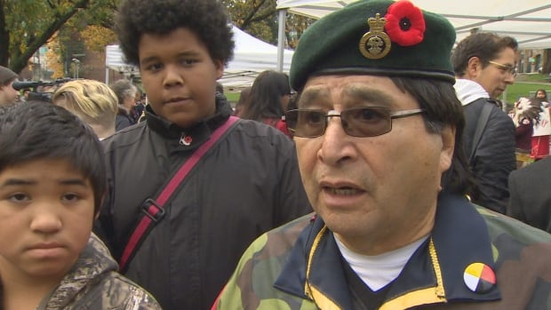 Robert Nahanee, a member of the Squamish First Nation, talks about First Nations contributions to the military during a National Aboriginal Veterans Day ceremony in Vancouver last November.