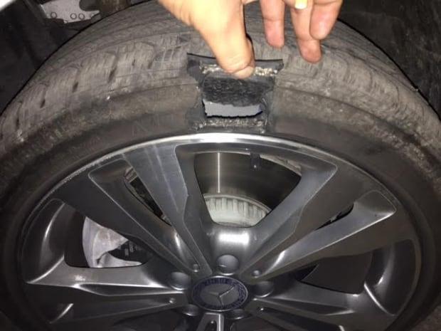 exploded tire pothole