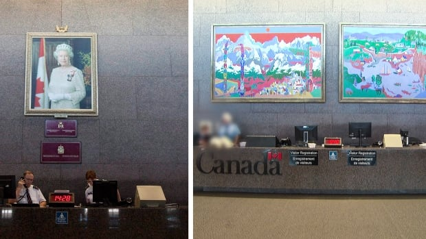 A portrait of the Queen at the entrance of the Foreign Affairs building in Ottawa was replaced by twin paintings by celebrated Quebec artist Alfred Pellan today.