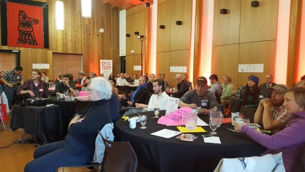 Business people brainstorm during the 'EveryEntrepreneur' Conference at the Kwanlin Dün Cultural Centre on Saturday.
