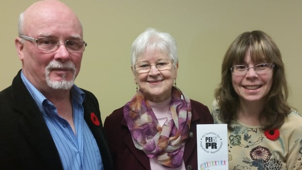 Members of the Coalition for Proportional Representation. From left to right: Ron Kelly, Marie Burge, Brenda Oslawsky.