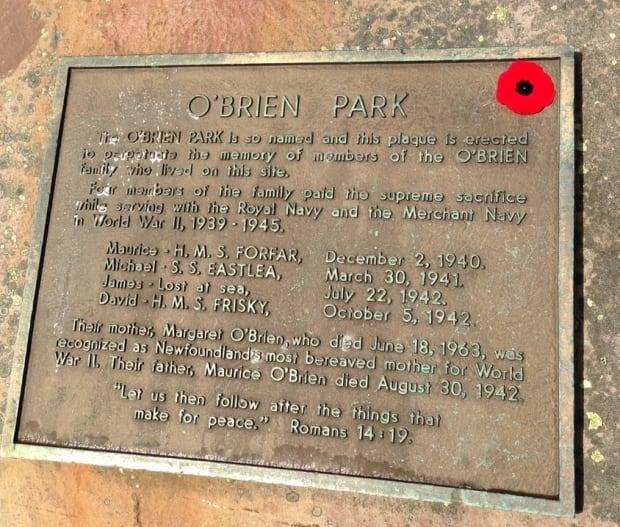 O'Brien Park plaque